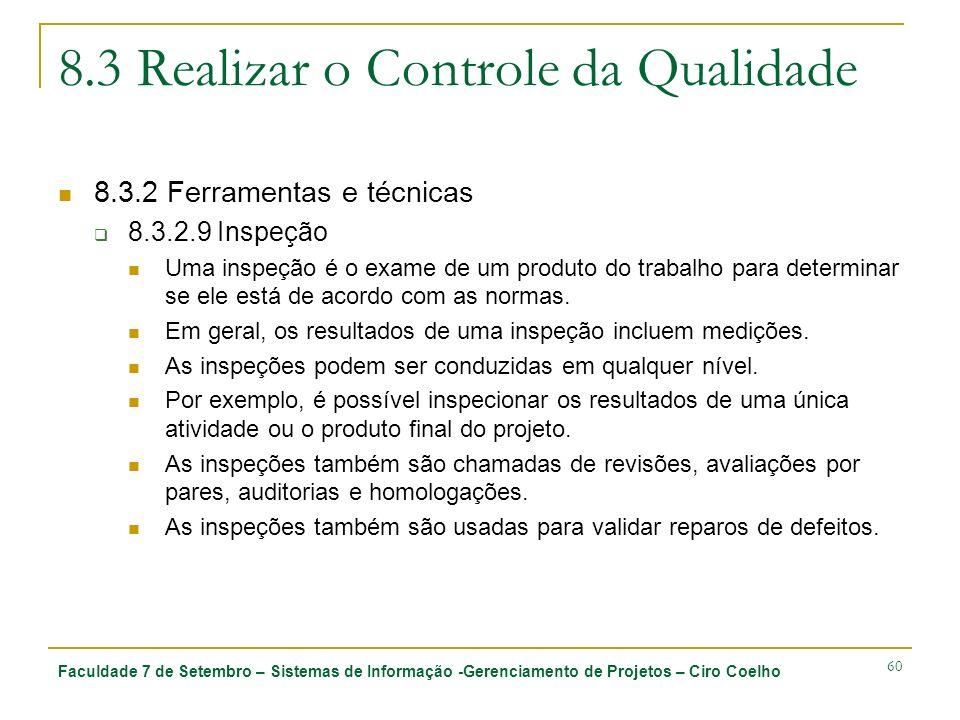 8.3 Realizar o Controle da Qualidade