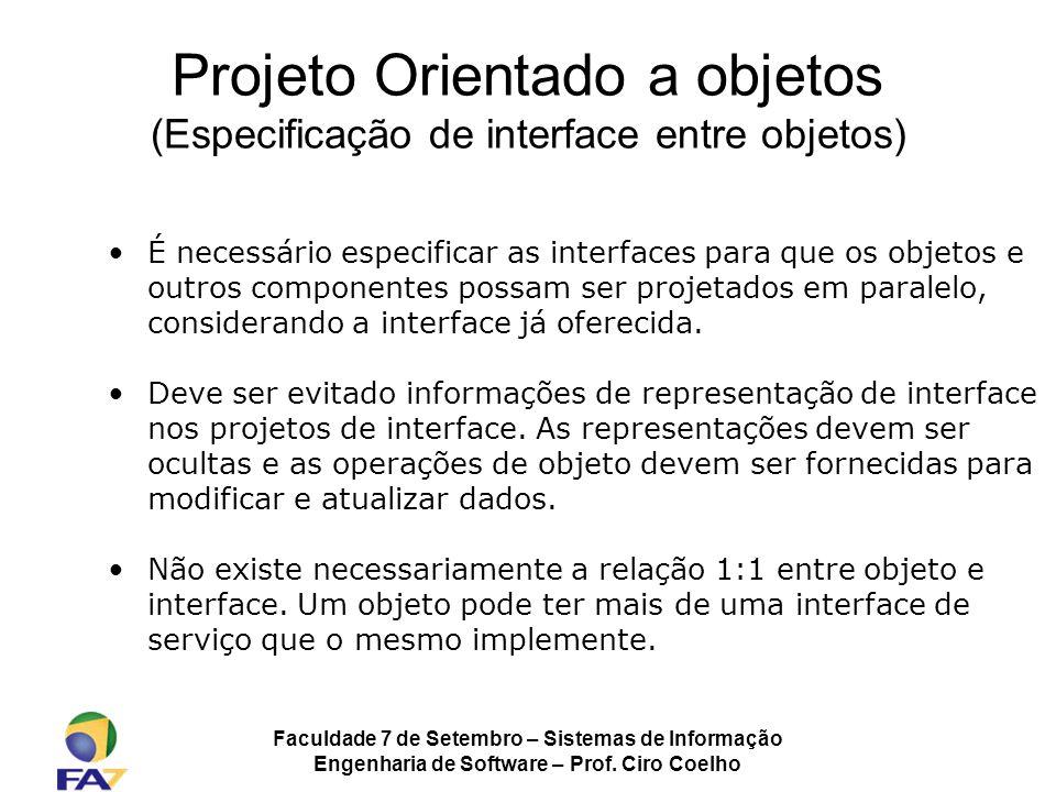 Projeto Orientado a objetos (Especificação de interface entre objetos)