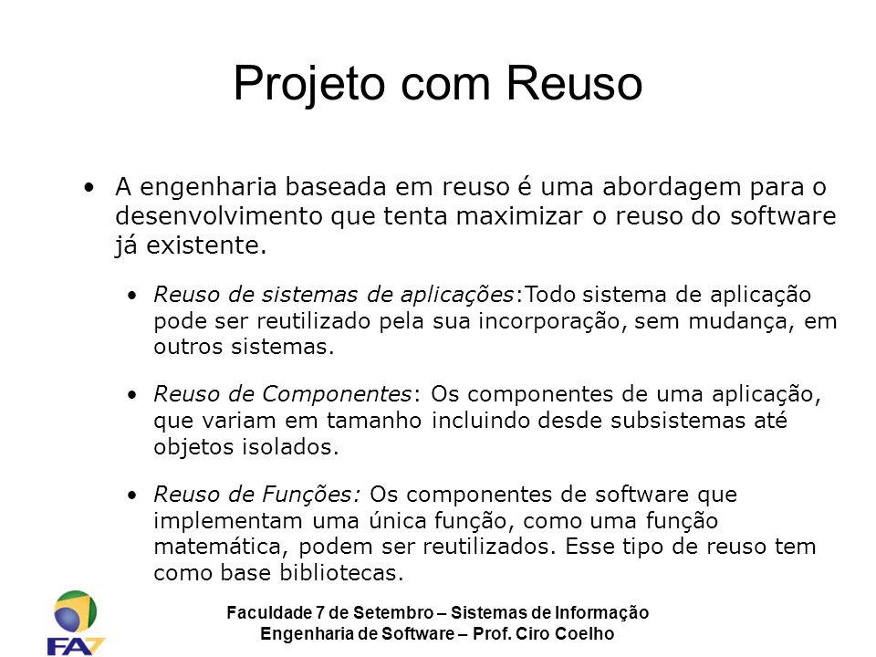 Projeto com Reuso A engenharia baseada em reuso é uma abordagem para o desenvolvimento que tenta maximizar o reuso do software já existente.
