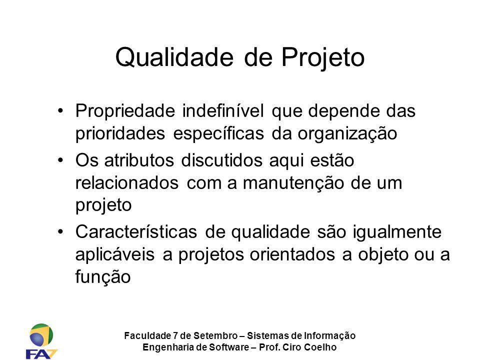 Qualidade de Projeto Propriedade indefinível que depende das prioridades específicas da organização.