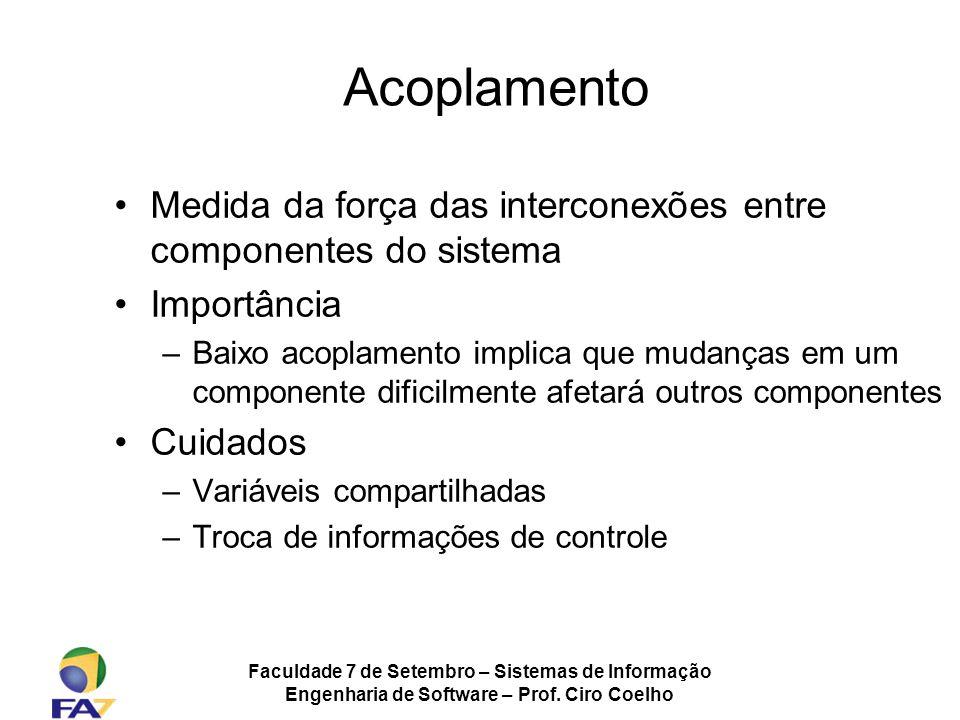 Acoplamento Medida da força das interconexões entre componentes do sistema. Importância.