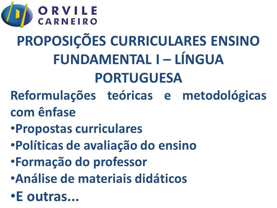 PROPOSIÇÕES CURRICULARES ENSINO FUNDAMENTAL I – LÍNGUA PORTUGUESA