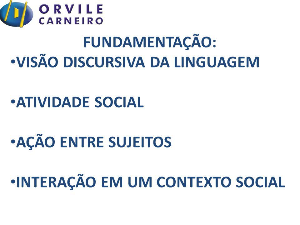 FUNDAMENTAÇÃO: VISÃO DISCURSIVA DA LINGUAGEM. ATIVIDADE SOCIAL.