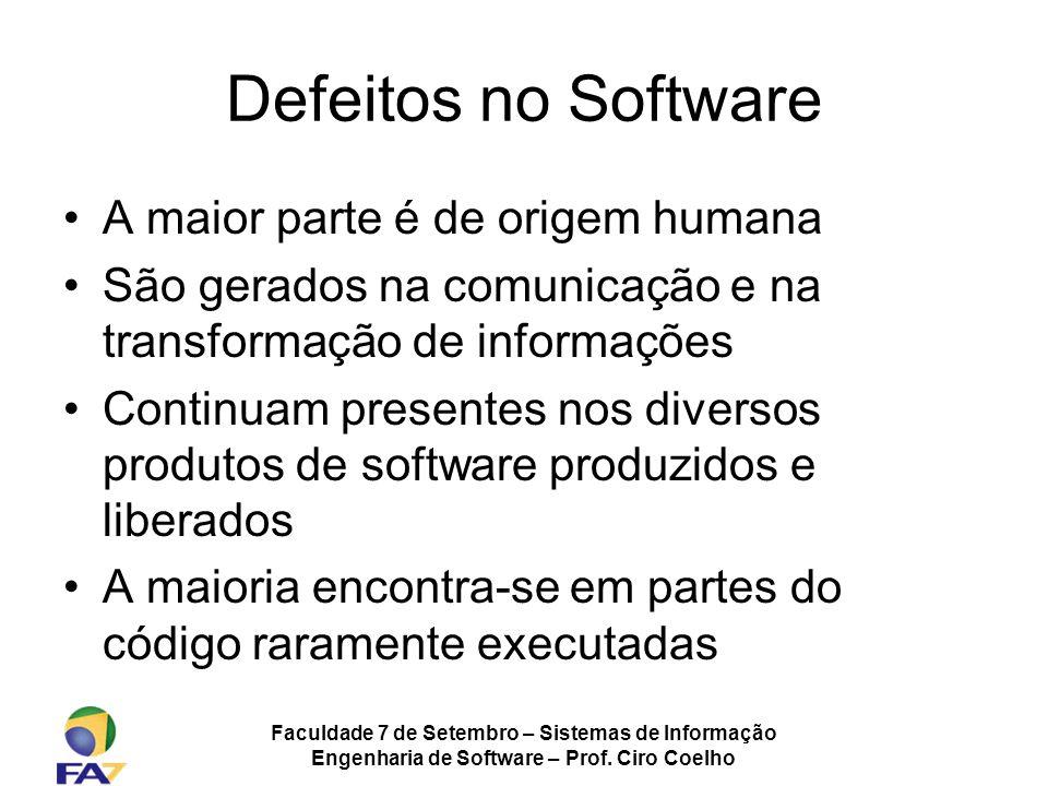 Defeitos no Software A maior parte é de origem humana