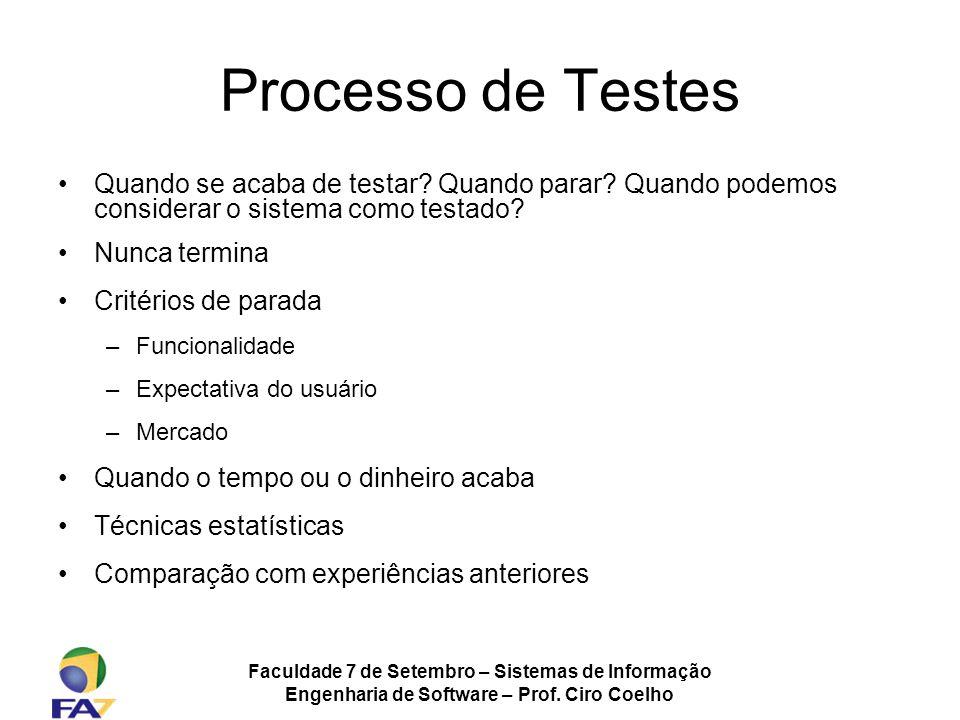 Processo de Testes Quando se acaba de testar Quando parar Quando podemos considerar o sistema como testado