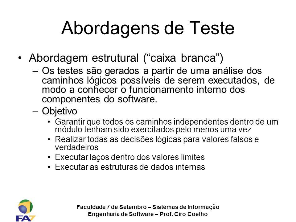 Abordagens de Teste Abordagem estrutural ( caixa branca )