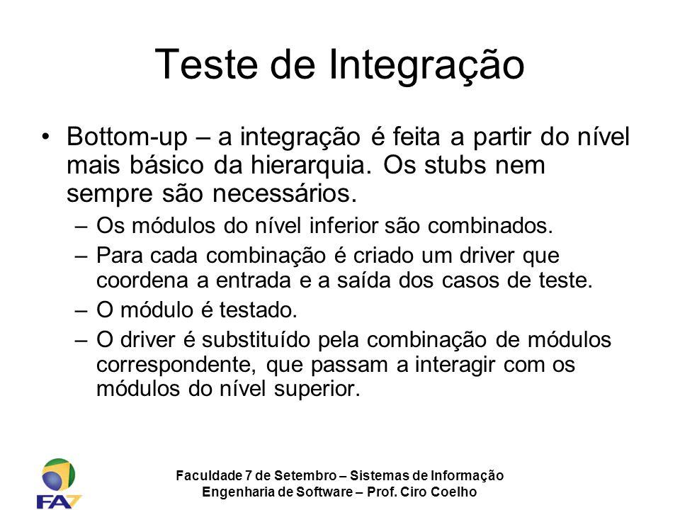 Teste de Integração Bottom-up – a integração é feita a partir do nível mais básico da hierarquia. Os stubs nem sempre são necessários.