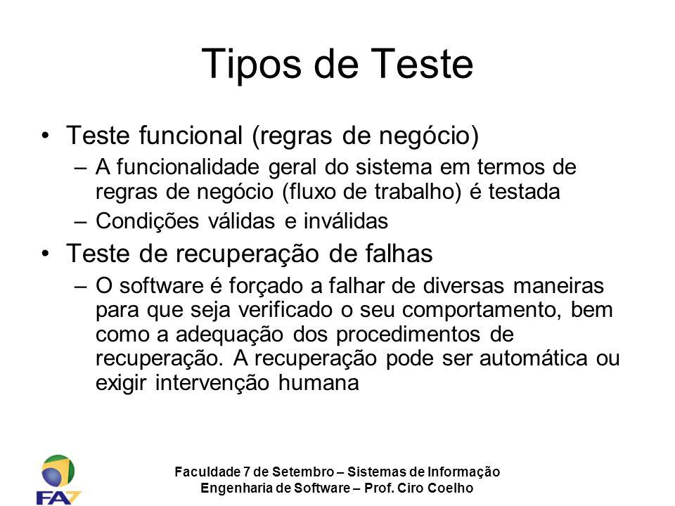 Tipos de Teste Teste funcional (regras de negócio)