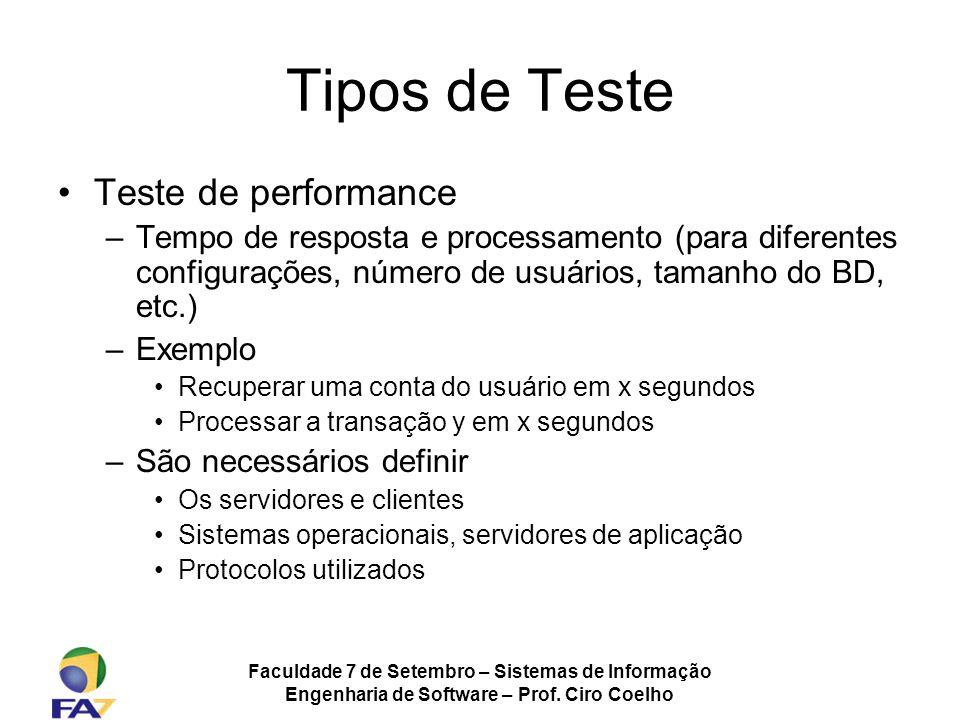 Tipos de Teste Teste de performance