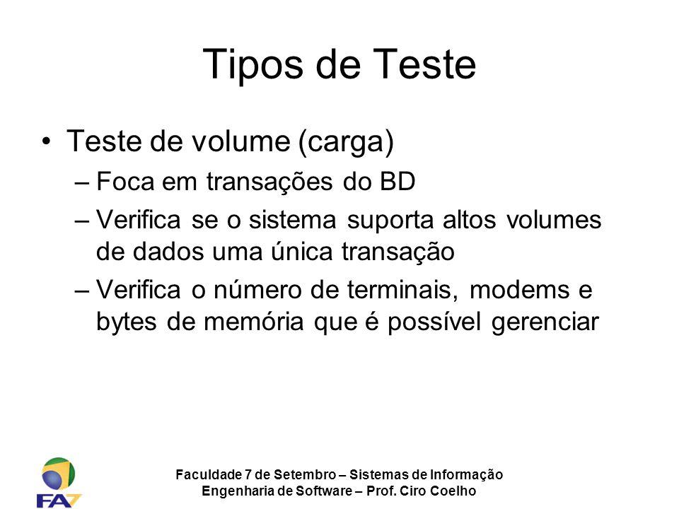Tipos de Teste Teste de volume (carga) Foca em transações do BD