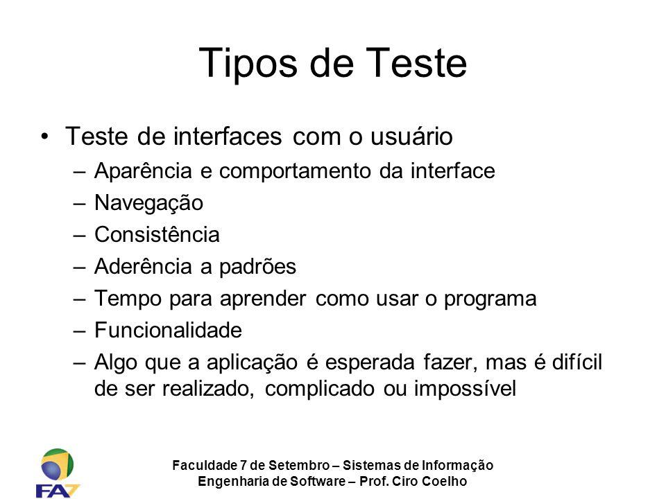 Tipos de Teste Teste de interfaces com o usuário