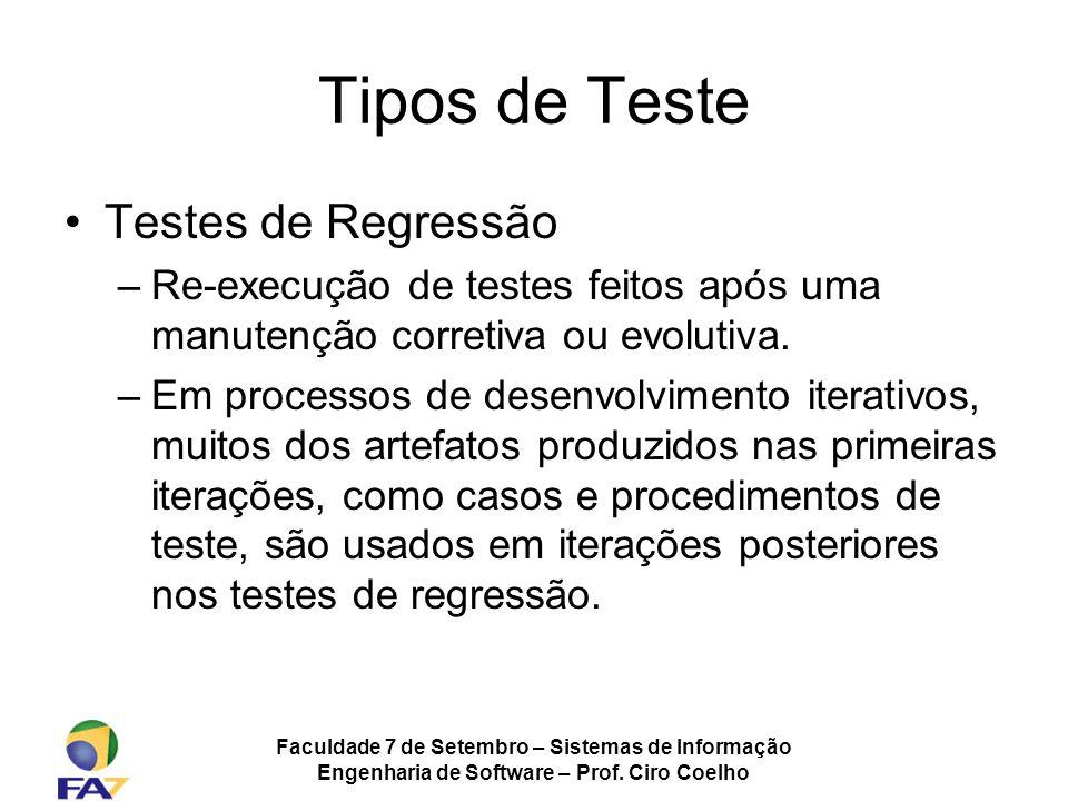 Tipos de Teste Testes de Regressão