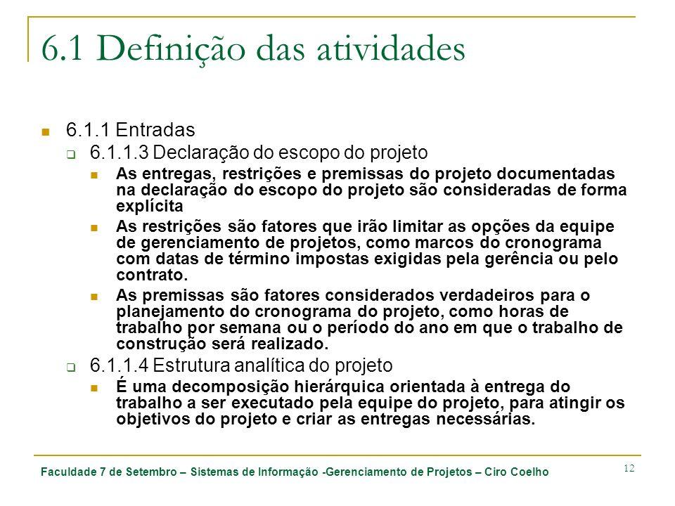 6.1 Definição das atividades