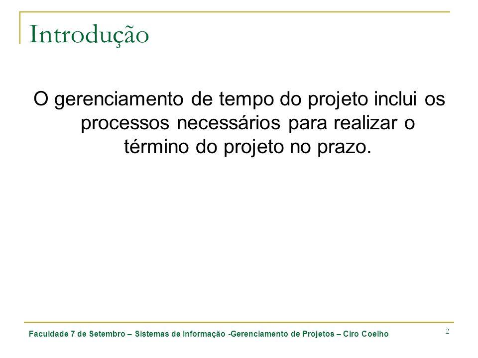 Introdução O gerenciamento de tempo do projeto inclui os processos necessários para realizar o término do projeto no prazo.