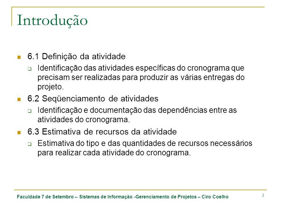 Introdução 6.1 Definição da atividade 6.2 Seqüenciamento de atividades