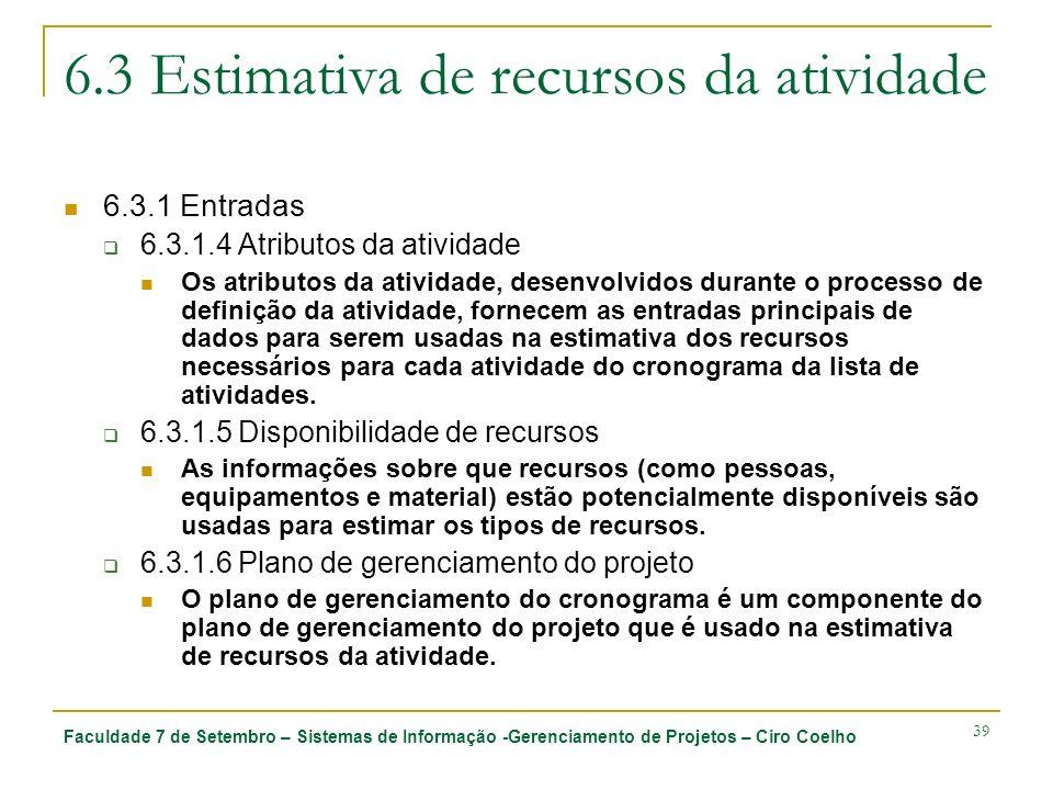 6.3 Estimativa de recursos da atividade