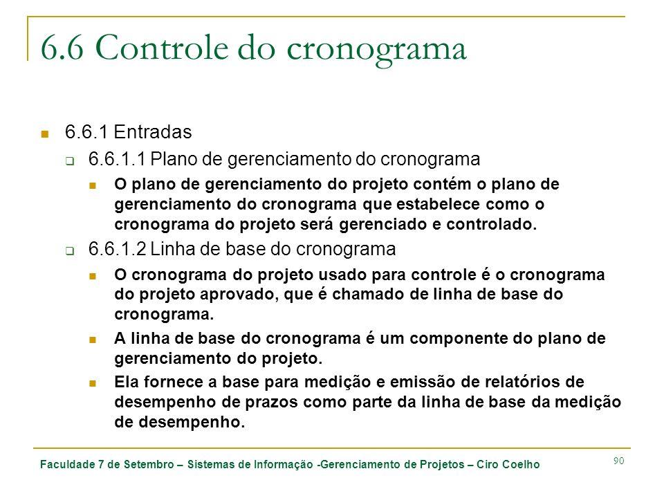 6.6 Controle do cronograma