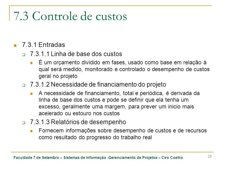 7.3 Controle de custos 7.3.1 Entradas 7.3.1.1 Linha de base dos custos