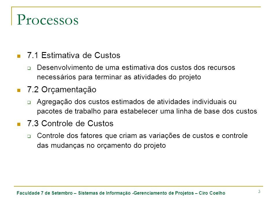 Processos 7.1 Estimativa de Custos 7.2 Orçamentação