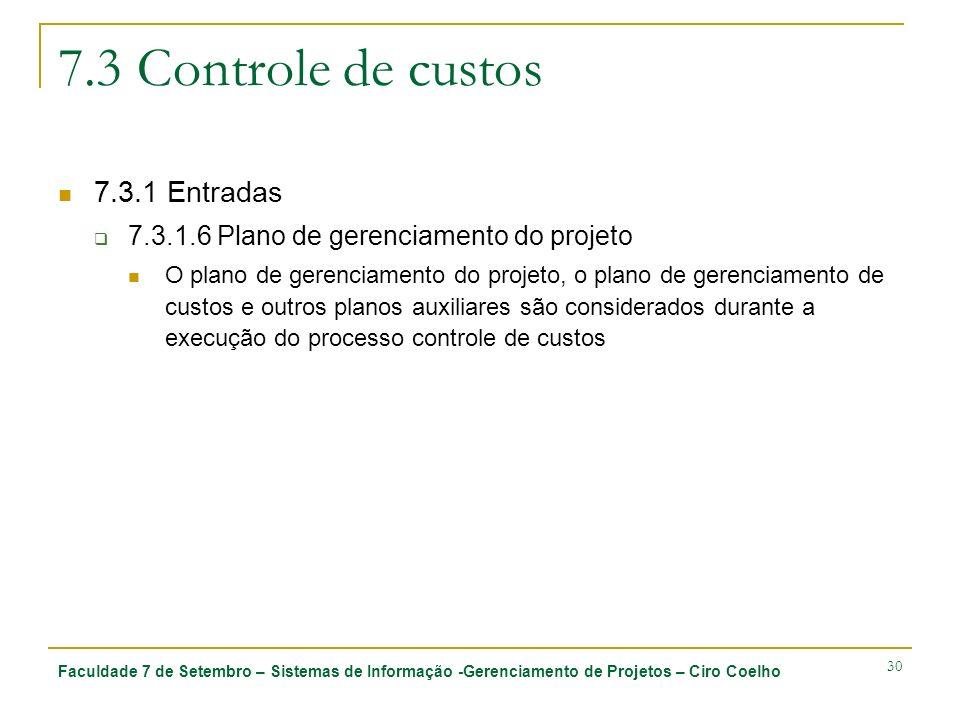 7.3 Controle de custos 7.3.1 Entradas
