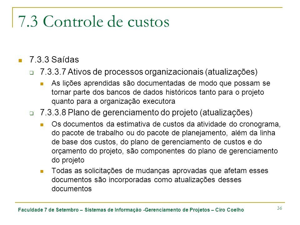 7.3 Controle de custos 7.3.3 Saídas