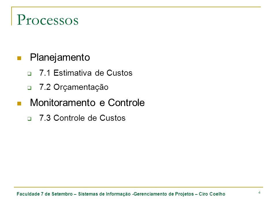 Processos Planejamento Monitoramento e Controle