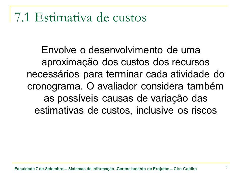 7.1 Estimativa de custos