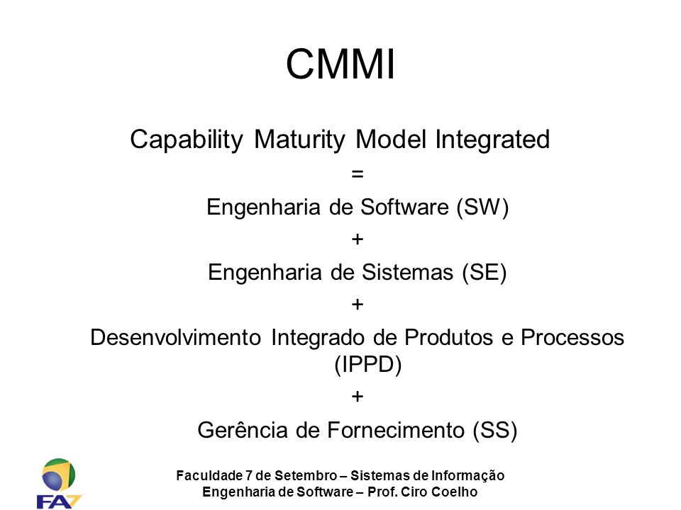 CMMI Capability Maturity Model Integrated =