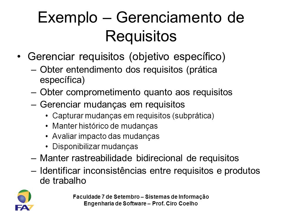 Exemplo – Gerenciamento de Requisitos