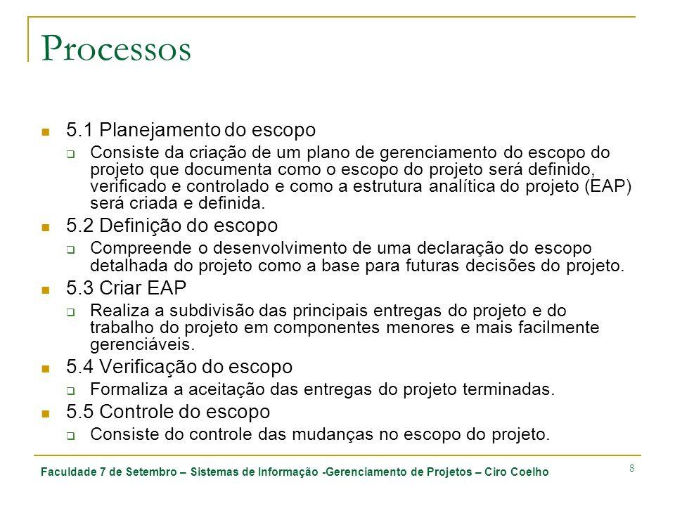 Processos 5.1 Planejamento do escopo 5.2 Definição do escopo