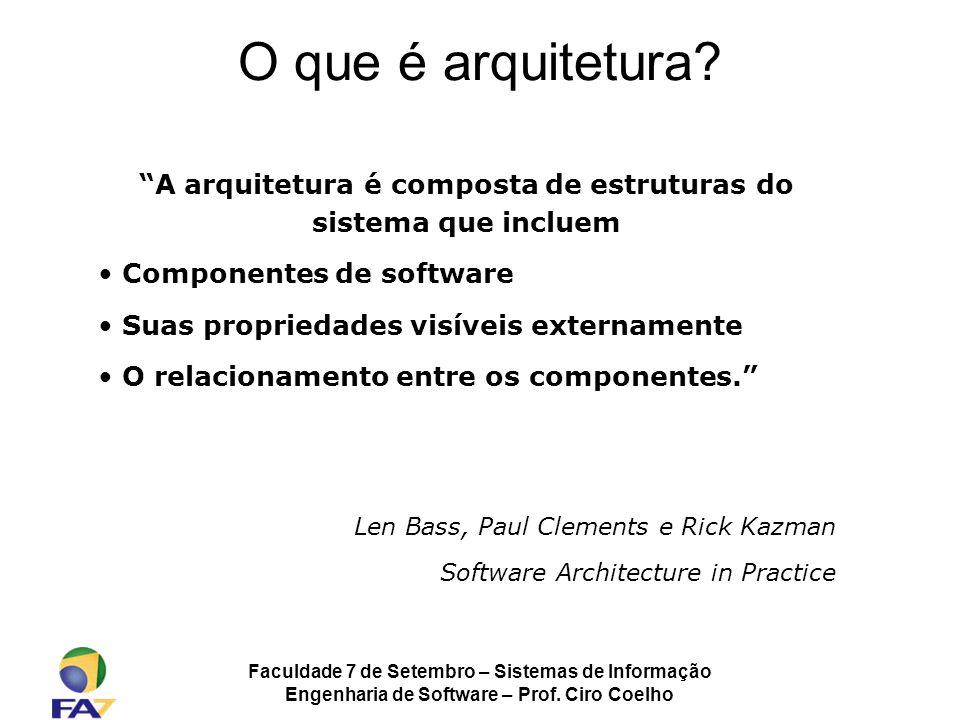 O que é arquitetura A arquitetura é composta de estruturas do sistema que incluem. Componentes de software.