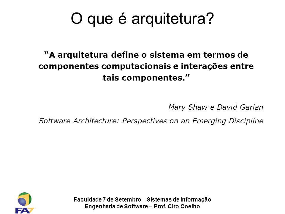 O que é arquitetura A arquitetura define o sistema em termos de componentes computacionais e interações entre tais componentes.