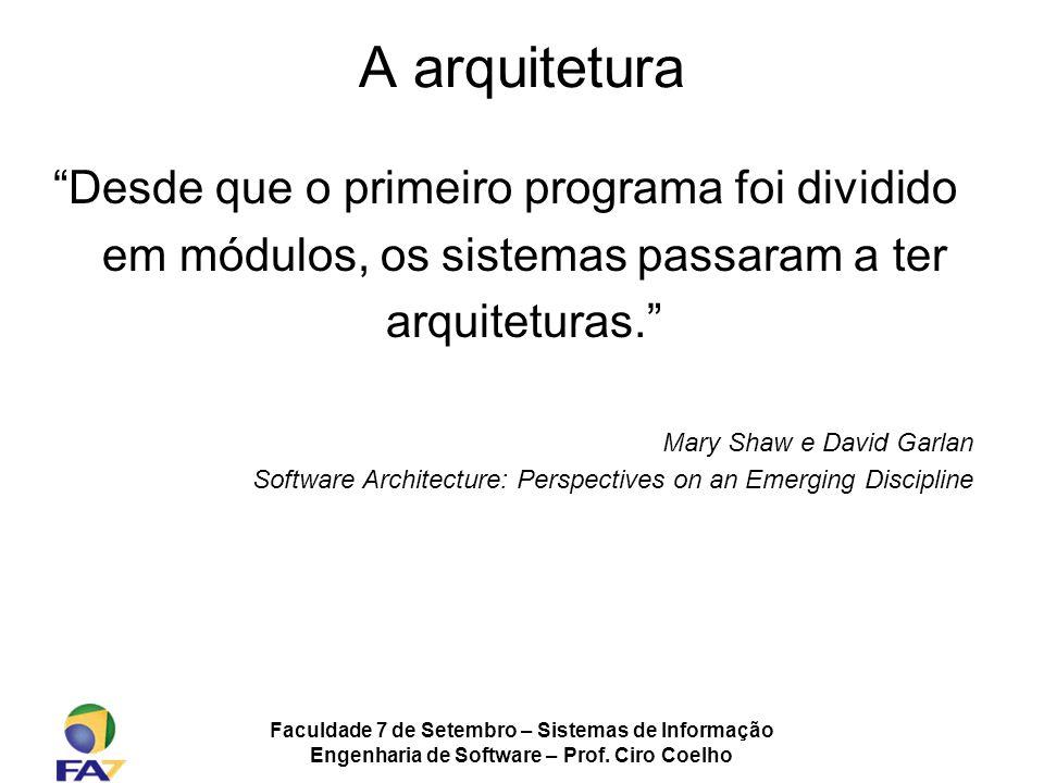 A arquitetura Desde que o primeiro programa foi dividido em módulos, os sistemas passaram a ter arquiteturas.