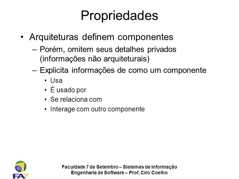 Propriedades Arquiteturas definem componentes