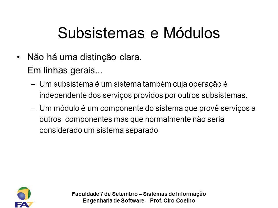 Subsistemas e Módulos Não há uma distinção clara. Em linhas gerais...