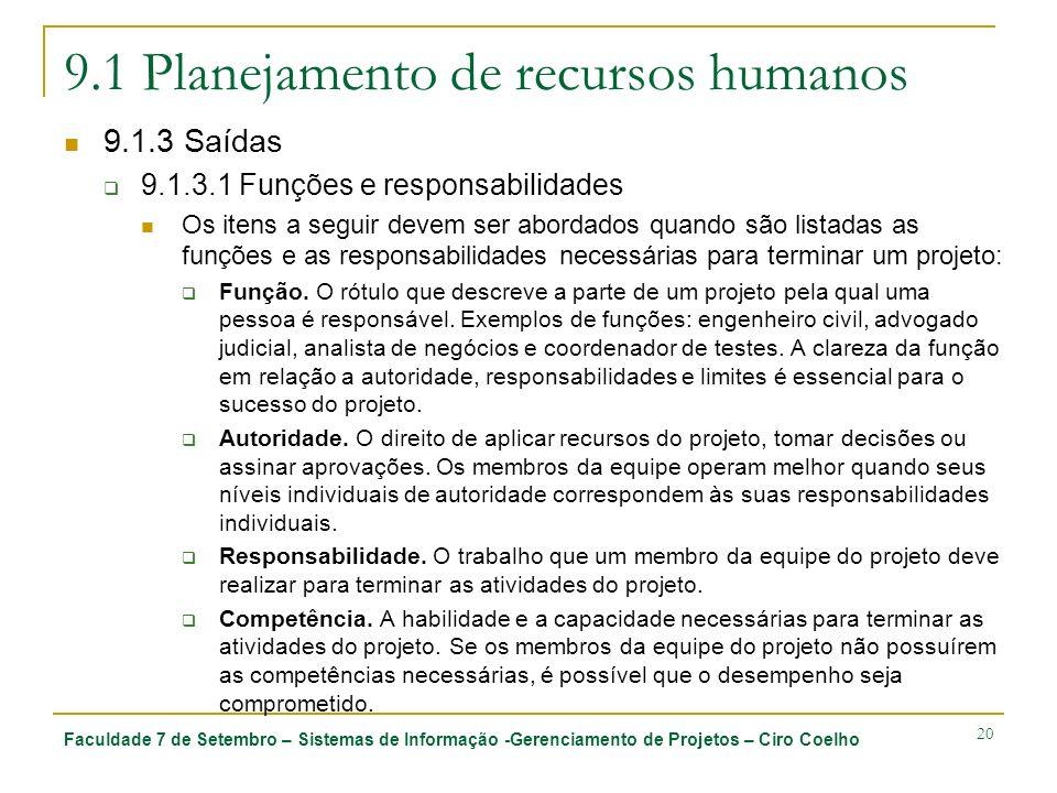 9.1 Planejamento de recursos humanos