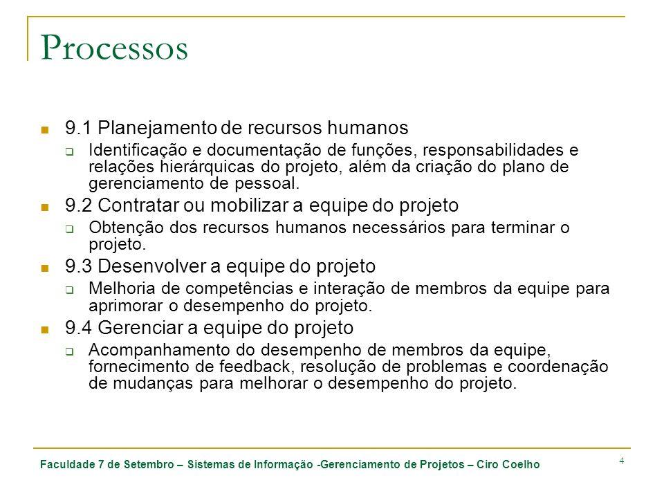 Processos 9.1 Planejamento de recursos humanos
