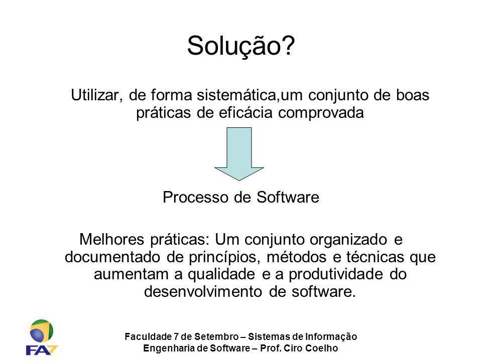 Solução Utilizar, de forma sistemática,um conjunto de boas práticas de eficácia comprovada. Processo de Software.