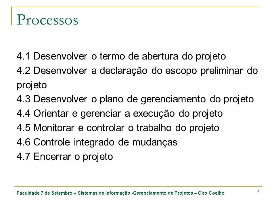 Processos 4.1 Desenvolver o termo de abertura do projeto