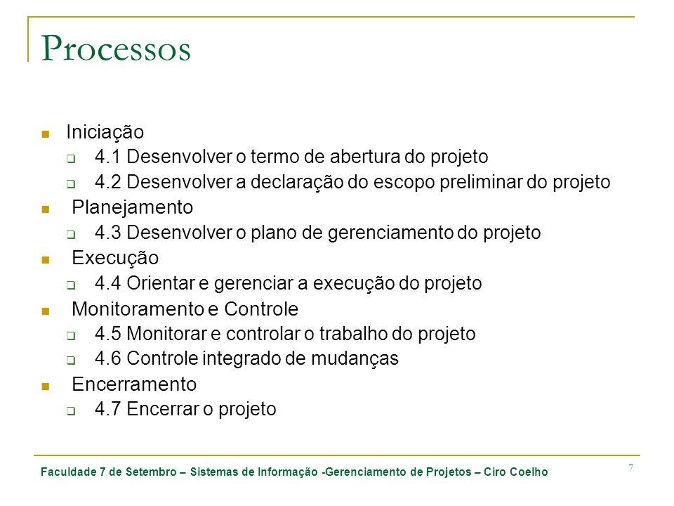Processos Iniciação Planejamento Execução Monitoramento e Controle