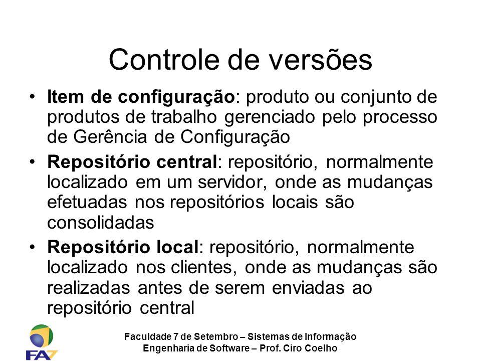 Controle de versões Item de configuração: produto ou conjunto de produtos de trabalho gerenciado pelo processo de Gerência de Configuração.