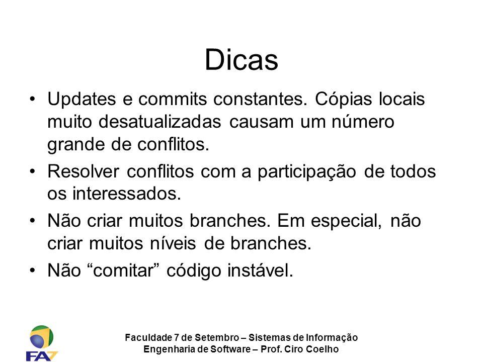 Dicas Updates e commits constantes. Cópias locais muito desatualizadas causam um número grande de conflitos.