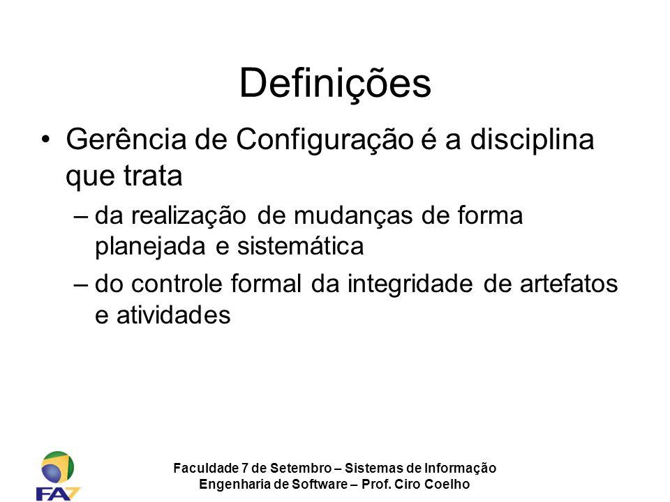 Definições Gerência de Configuração é a disciplina que trata
