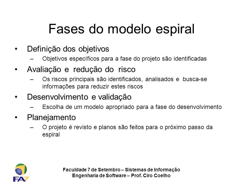 Fases do modelo espiral