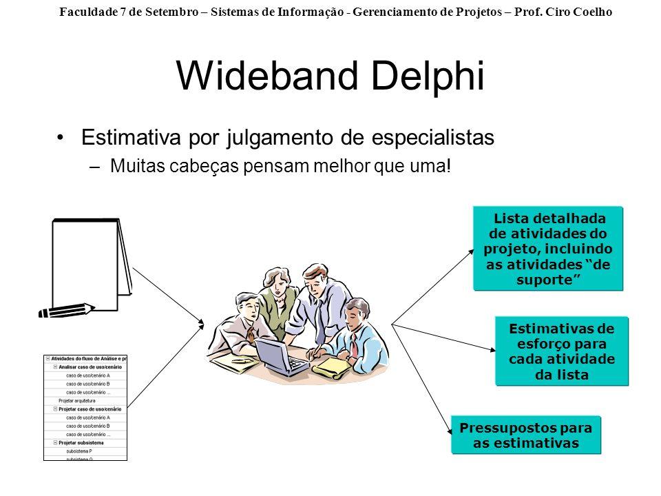 Wideband Delphi Estimativa por julgamento de especialistas