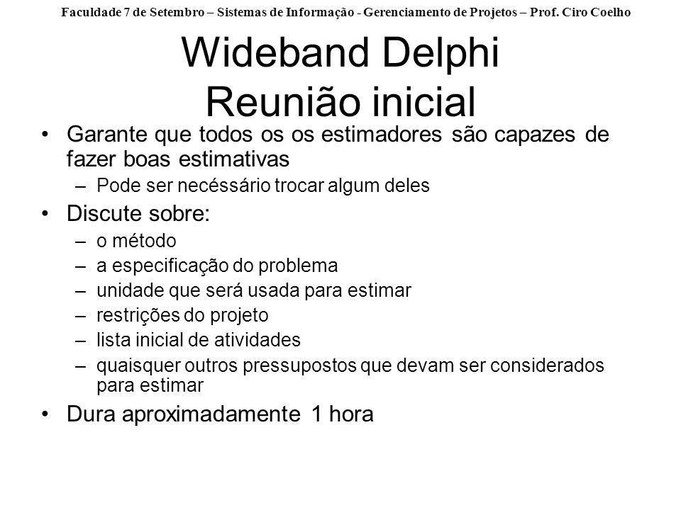 Wideband Delphi Reunião inicial