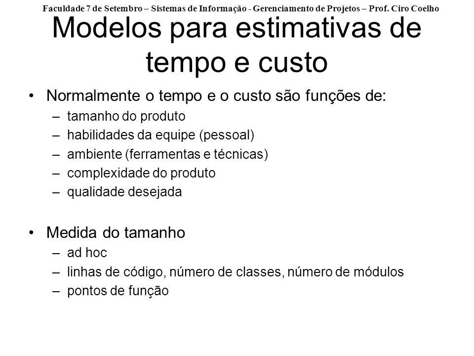 Modelos para estimativas de tempo e custo