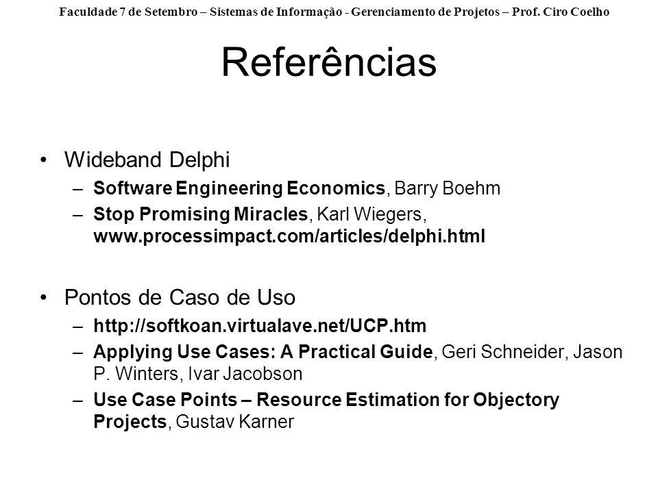 Referências Wideband Delphi Pontos de Caso de Uso