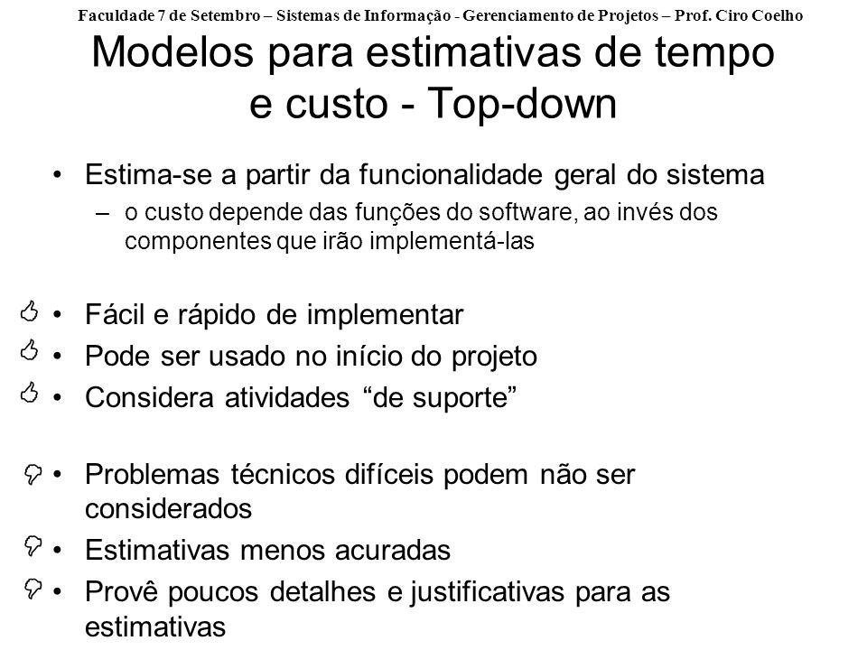 Modelos para estimativas de tempo e custo - Top-down