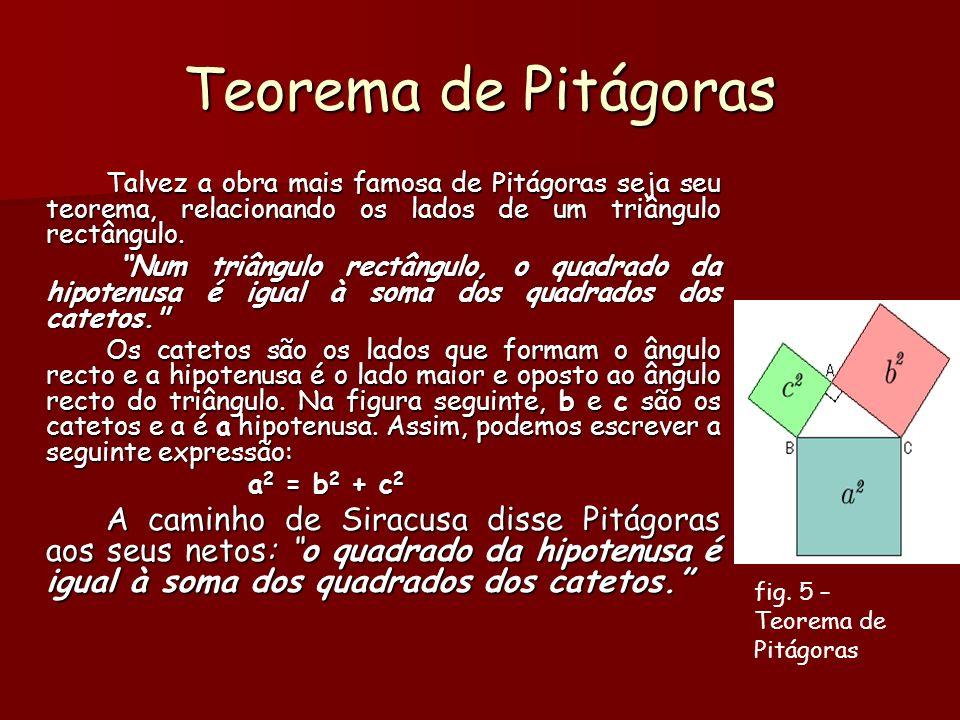 Teorema de Pitágoras Talvez a obra mais famosa de Pitágoras seja seu teorema, relacionando os lados de um triângulo rectângulo.